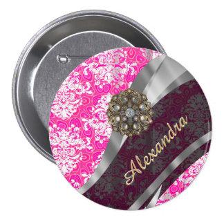 Motif assez girly rose personnalisé de damassé badge rond 7,6 cm