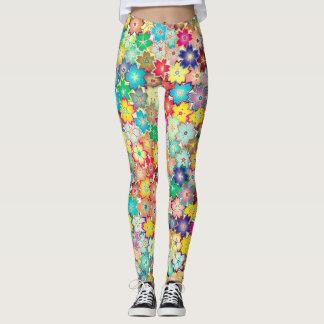 Motif assez petit de couleur de fleurs leggings