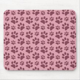 Motif assez rose d'empreinte de patte de chien tapis de souris