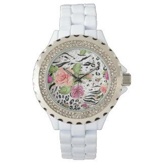 Motif avec des posters de animaux montres bracelet