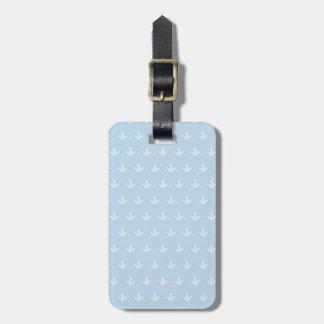 Motif avec les ancres blanches sur le bleu étiquettes bagages
