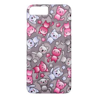 motif avec les chats mignons de griffonnage de coque iPhone 7 plus