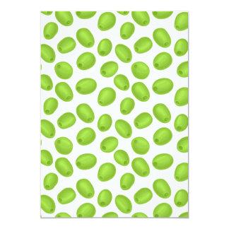 Motif avec les olives vertes carton d'invitation  12,7 cm x 17,78 cm