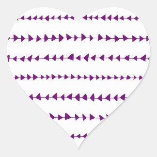 Motif aztèque blanc pourpre de flèches sticker cœur