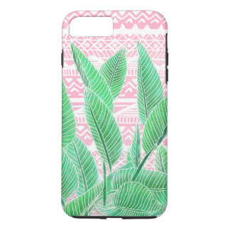 Motif aztèque d'aquarelle de rose tropical vert de coque iPhone 7 plus