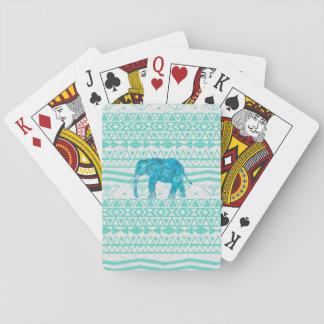 Motif aztèque de turquoise d'éléphant lunatique de jeu de cartes