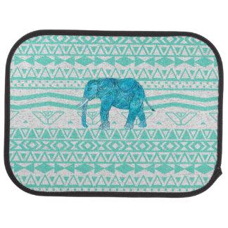 Motif aztèque de turquoise d'éléphant lunatique de tapis de sol