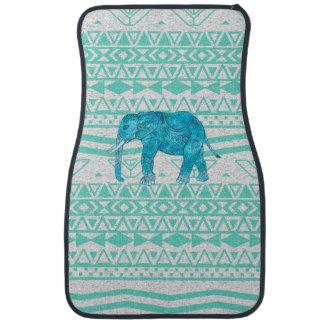 Motif aztèque de turquoise d'éléphant lunatique de tapis de voiture