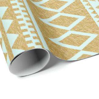 Motif aztèque géométrique de feuille d'or de Faux Papier Cadeau