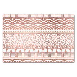 Motif aztèque géométrique de léopard d'or rose papier mousseline