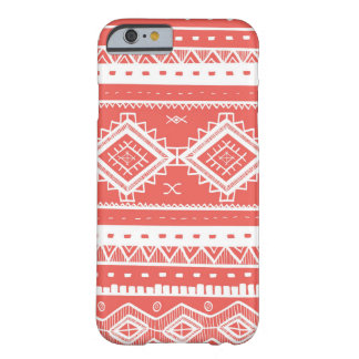 Motif aztèque tribal de dentelle (corail) coque iPhone 6 barely there