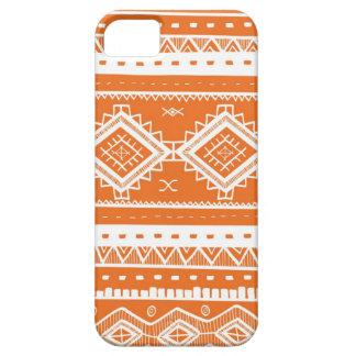 Motif aztèque tribal de dentelle (orange) coques iPhone 5