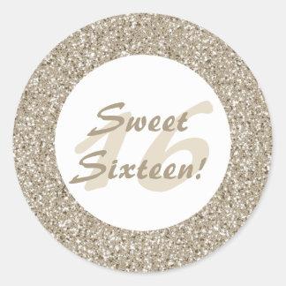 Motif beige de scintillement Regard-comme le sweet Sticker Rond