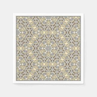 Motif beige gris de kaléidoscope de mosaïque de serviette jetable