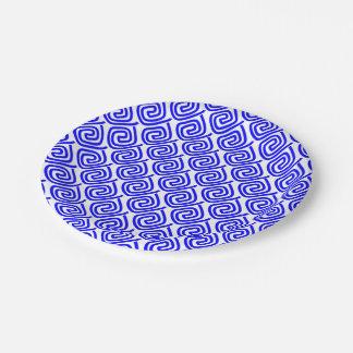 Motif blanc bleu traditionnel grec de frette de assiettes en papier