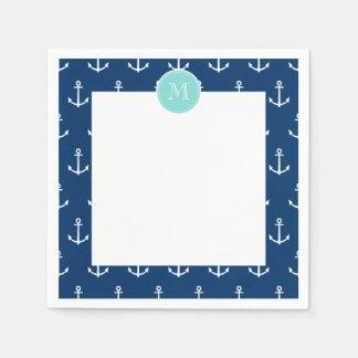 Motif blanc d'ancres de bleu marine, Monogr vert Serviette En Papier
