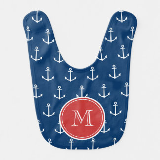 Motif blanc d'ancres de bleu marine, monogramme bavoir