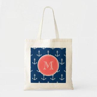 Motif blanc d'ancres de bleu marine, monogramme de sac en toile budget