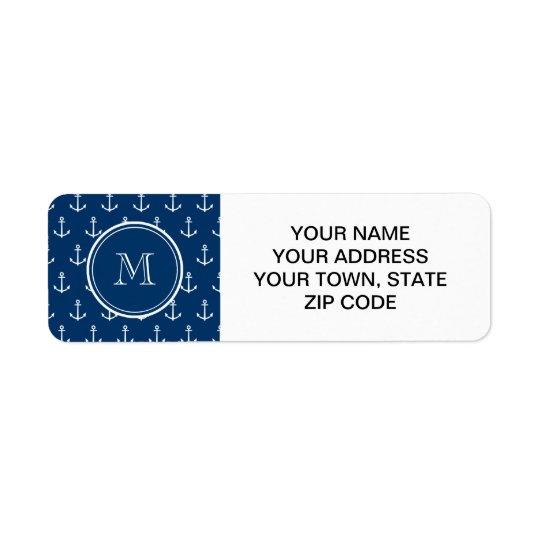 Motif blanc d'ancres de bleu marine, votre monogra étiquette d'adresse retour