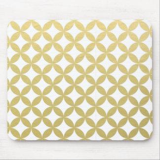 Motif blanc de cercle de diamant de feuille d'or tapis de souris