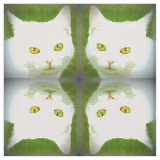 motif blanc de chat tissu