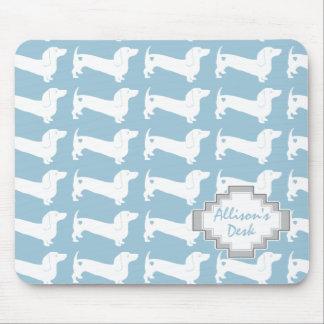Motif blanc de chien de teckel tapis de souris