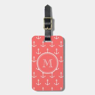Motif blanc de corail d'ancres, votre monogramme étiquettes bagages