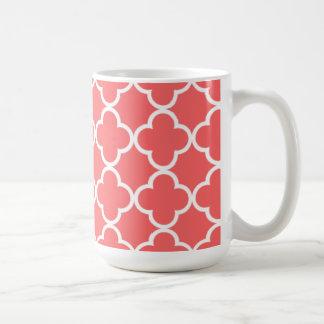 Motif blanc de corail marocain de Quatrefoil Mug