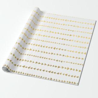 Motif blanc de flèches de feuille d'or de Faux Papier Cadeau