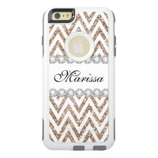 Motif blanc de rayure de Chevron de scintillement Coque OtterBox iPhone 6 Et 6s Plus