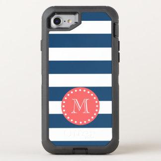 Motif blanc de rayures de bleu marine, monogramme coque otterbox defender pour iPhone 7