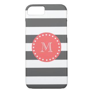 Motif blanc de rayures de charbon de bois, coque iPhone 7