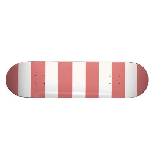 Motif blanc de rayures de pêche moderne planches à roulettes customisées