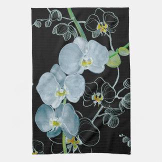 Motif blanc d'orchidées d'aquarelle serviettes éponge