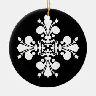Motif blanc élégant de damassé de fleur de lis ornement rond en céramique