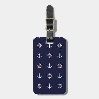 Motif blanc et bleu rouge d'ancre étiquette pour bagages