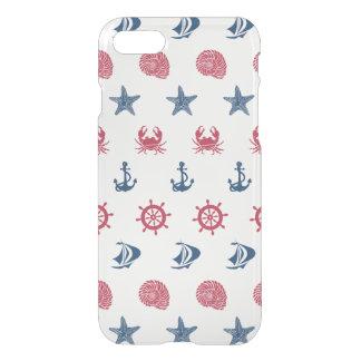 Motif blanc et bleu rouge de symbole de mer coque iPhone 7