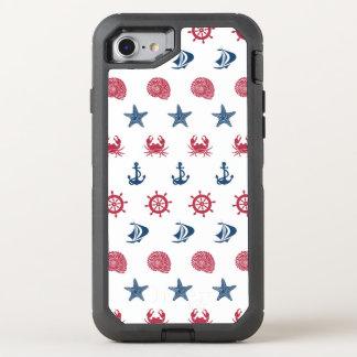 Motif blanc et bleu rouge de symbole de mer coque otterbox defender pour iPhone 7