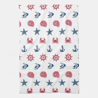 Motif blanc et bleu rouge de symbole de mer linges de cuisine