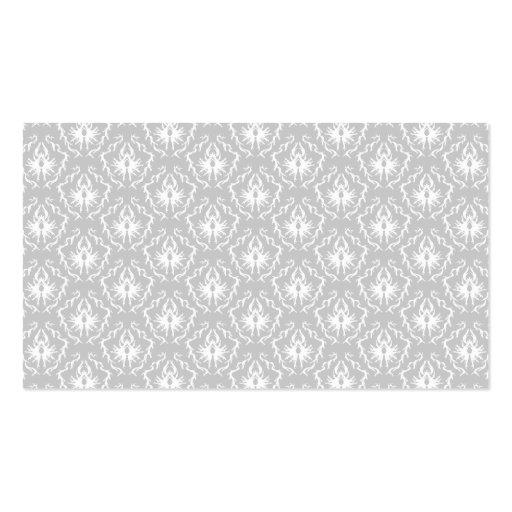 Motif blanc et gris élégant. Damassé Cartes De Visite Personnelles