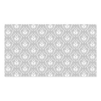 Motif blanc et gris élégant. Damassé Carte De Visite Standard
