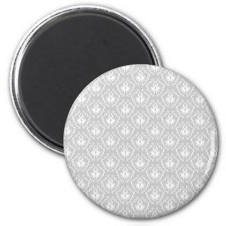 Motif blanc et gris élégant. Damassé Magnet Rond 8 Cm