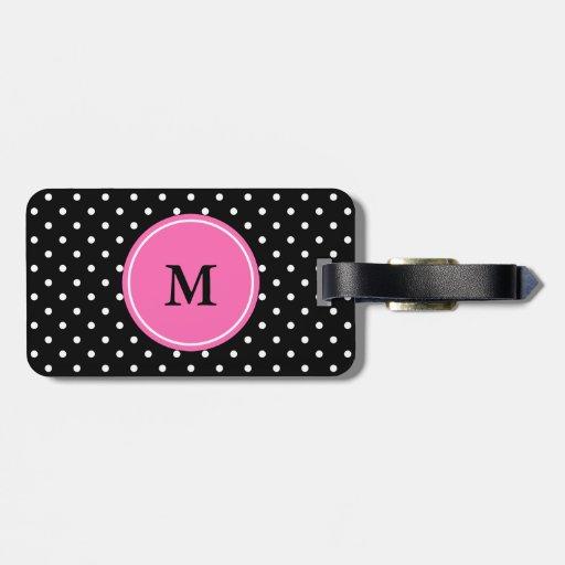 Motif blanc et noir de monogramme de polka de poin étiquettes à bagage