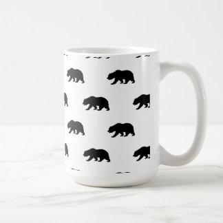 Motif blanc et noir d'ours gris mug