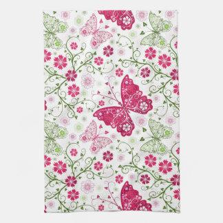 Motif blanc floral serviettes pour les mains
