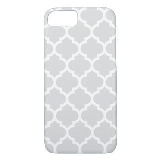 Motif blanc gris-clair #5 de Quatrefoil de Coque iPhone 7