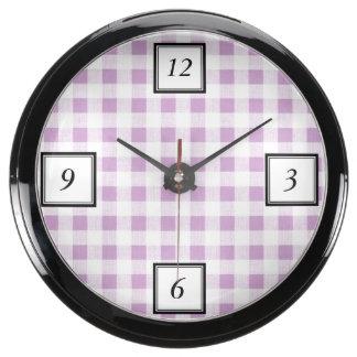 Motif blanc lilas de guingan aqua clocks