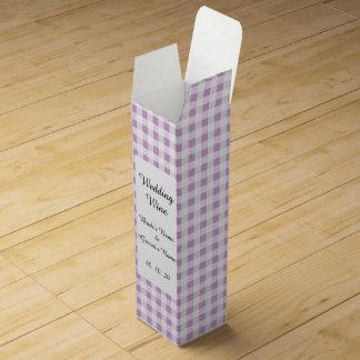 Motif blanc lilas de guingan boîtes pour bouteille de vin
