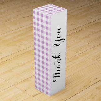 Motif blanc lilas de guingan boîte cadeau pour bouteille de vin