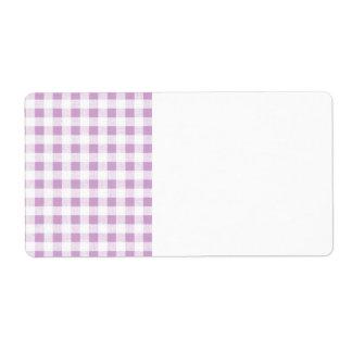 Motif blanc lilas de guingan étiquettes d'expédition